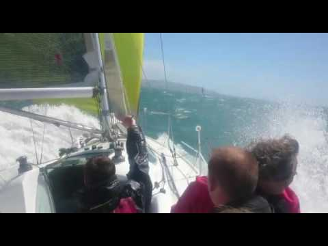 our  downwind leg from needles to st catherines ,18 kts amazing until it all went wrong !