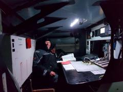 Nick on the nav station