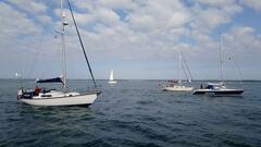 The fleet heading to Newtown Creek in calmer times