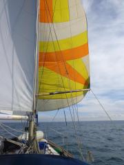 The 'Big Citrus' in action with the Cotentin coast not far away now..