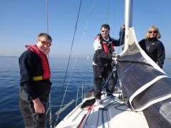 New crew Pierrick with Dave and Rima aboard Saskia VII