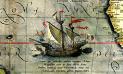The Nao Victoria on a map of 1590