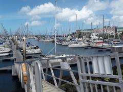 Cherbourg in the sunshine from the top of my pontoon