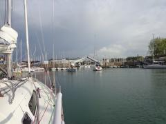 the bridge opening for us to leave Deauville basin