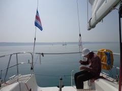 No wind today - lunchtime off Fecamp. The following day was 30 knots and heavy rain.