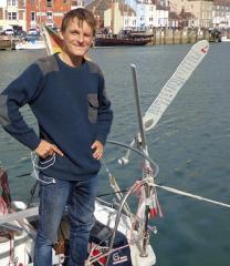 Kristof and his itinerary on his windvane