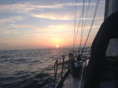 Aliya begins her 50th birthday year with a January Channel crossing, sunrise a long way south