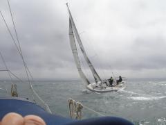 Saskia approaches Cherbourg on the WSC Centenary rally in 2013