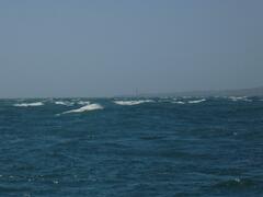 Sliding past white water near the Shambles bank
