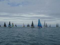 IRC fleet heading off upwind in a light N breeze