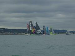 The trimarans head for the line