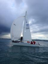 J24 - Bob Turner demonstrates the Hokey Cokey school of foredeck work